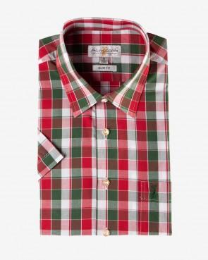 Almsach - Herren Hemd kurzarm rot-tanne