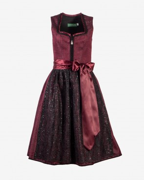 Country Line Dirndl - bordeaux/schwarz