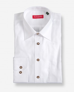 Trachtenhemd - langarm weiß