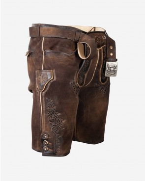 Herren kurze Lederhose - Samson Erle Antik