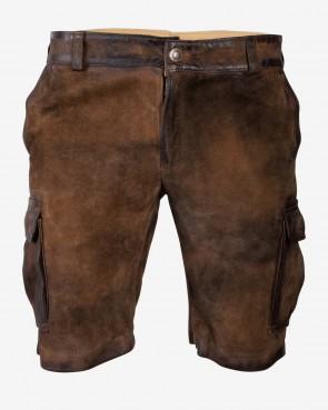 Herren kurze Lederhose - Cargo ziller antik