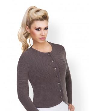 Damen Trachten - Strickjacke grau-braun