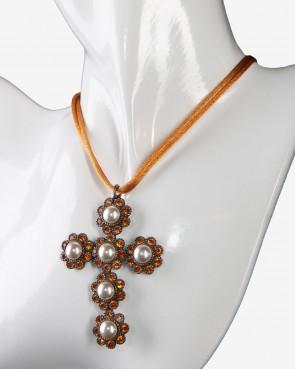 Collier - Kreuz orange