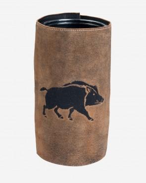 Weinkühler Wildschwein Leder braun